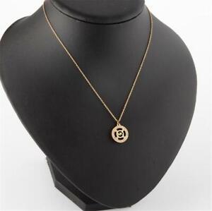 Michael Kors Heritage Monogram Logo Pendant Necklace Gold Tone