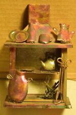 Vintage Metal Copper Colored Wood Fireplace Miniature Decor