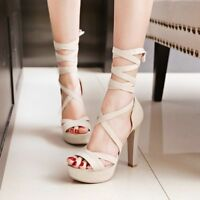 Fashion Women Ankle Strap High Heels Cross Strappy Platform Party Peep Toe Shoes
