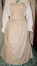 CIVIL WAR DRESS VICTORIAN COLONIAL LADY'S TAN COTTON 2 POCKET PINNER~BIB APRON