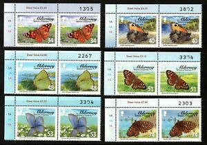 Alderney Stamps 2008 SG A329-A334 Butterflies Pairs Unmounted Mint MNH