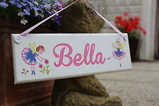 Children's hand painted personalised wooden name plaque / sign: garden fairies