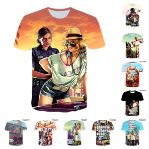 Women Men Kids Short Sleeve T-Shirt Tops Grand Theft Auto 3D Casual printing