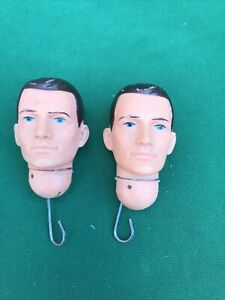 PALITOY VINTAGE ACTION MAN x2 Painted Heads Hard CB63101