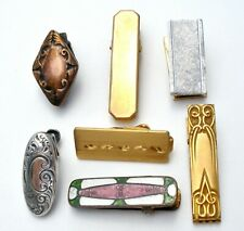 LOT OF 7 NAPKIN CLIPS ART VICTORIAN GOLD FILLED ORNATE PIN SASH ORNAMENT
