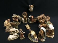 ~*~17 Pc 6� Antique Wood Nativity Set Hand Painted — Anri-style Italy~*~