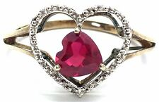 Sterling Silver Gold Tone Oxidized Heart Pink Tourmaline CZ Love Cocktail Ring