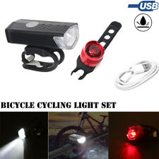 USB Rechargeable LED Bicycle Bright Bike Front Headlight & Rear Tail Light Set