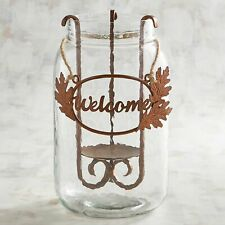 Pier 1 Imports Hurricane Candle Holder Iron Leaves Welcome Jar New