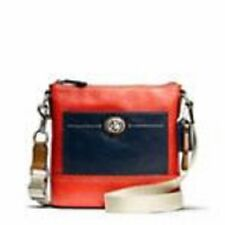 AUTHENTIC COACH PARK COLORBLOCK LEATHER SWINGPACK CROSSBODY RED/NAVY F49493 NWT
