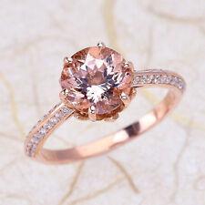 2.45ct 8MM Morganite Louts Flower & Diamond Engagement Ring 14K Rose Gold PD8M