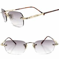 Gold Rimless Light Gray Tinted Rectangle Lens Bifocal 1.00 Reading Sun Glasses