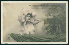 French nude Edwardian breasts nice breasts Lady old tinted color photo postcard