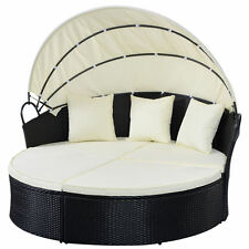 Large Outdoor Circle Love Seat Sofa Couch Bed Wicker Furniture Canopy & Ottoman