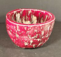 Vintage Hand Crafted Pottery Dish Planter Signed Red Brown