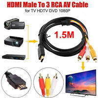 1.5 Meter HDMI Male to 3 RCA Audio Video AV Cable Adapter Lead TV HDTV DVD 1080P