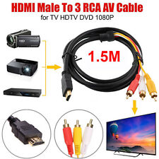 HDMI Male to 3 RCA Audio Video AV Cable Adapter Lead TV HDTV DVD 1080P 1.5 Meter