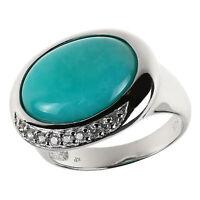 Damen Ring echt 925 Sterling Silber rhodiniert mit Amazonit und Weiß-Topas groß