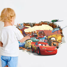 Cars Lightning McQueen 3D PVC Removable Broken Wall Stickers For Kids Home Decor