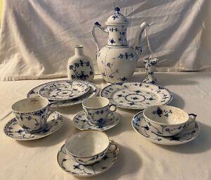 1950's Royal Copenhagen Blue Fluted Coffee Tea Pot- Tea Cup- Vase- Plate Lot