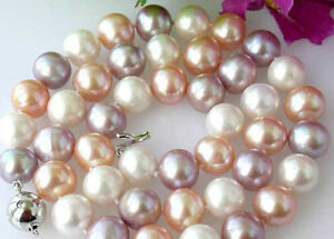 """Charming!Genuine Natural 8-9mm Multi-Color akoya cultured pearl necklace 18"""""""