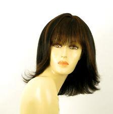 perruque femme 100% cheveux naturel mi-long méchée noir/cuivré TABATA 1b30
