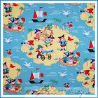 BonEful Fabric FQ Cotton Quilt Blue Pirate Skull Treasure Island Boy Ship Boat S