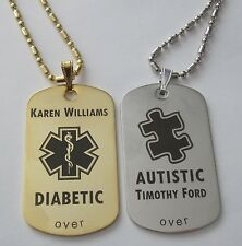 Gold, Silver, or Copper Tone Medical Alert Diabetic Autism Tag - Free Engraving