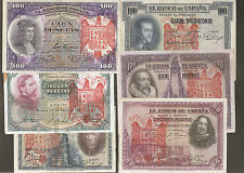 LOTE 6 BILLETES 1925 / 1931 AGUILA DE SAN JUAN BURGOS CIVIL RESELLO FRANCO polo