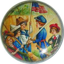 Crystal Dome Button Patriotic Vintage Children   PAT 01