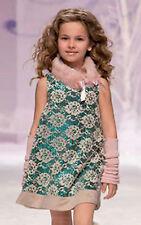 MISS BLUMARINE Luxus Kleid*Spitze & Pailletten*Beige-Grün*Gr.10/140 146 NEU