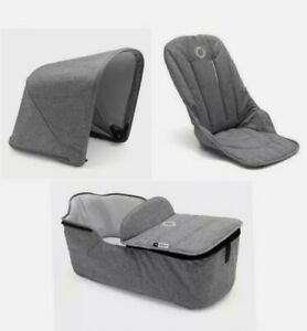 NEW Bugaboo Fox Grey Melange Hood Seat Fabric & Carrycot FABRIC ONLY!!