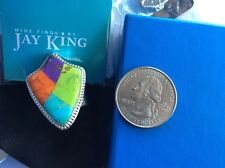 MIB NWT 925 Sterling Silver Southwest Turquoise shield ring Jay King retired HSN