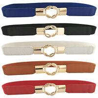 Lady Fashion Belt Women Elastic Belt Narrow Buckle Waist Dress Stretch Cinch Bow