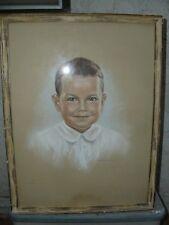 Vintage Pastel Young Boy Portrait Brown Hair Grn Eyes Sig Ruth Stedman Druliner