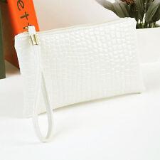 Hot Sale Women Handbags Crocodile Leather Clutch Handbag Bag Coin Purse White
