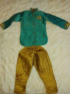 Boys Indian Sherwani Outfit in Turquoise, 2-3 Years