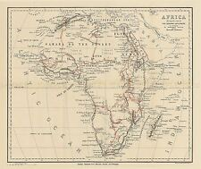 MAP REPRO ANTIQUE STANFORD EXPLORER ROUTES AFRICA LARGE ART PRINT LF912