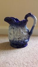 Burleigh Ironstone Jug ~ Blue & White ~ Relief Moulded