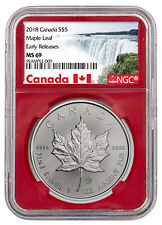 2018 Canada 1 oz Silver Maple Leaf $5 Coin NGC MS69 ER Red Core SKU50996