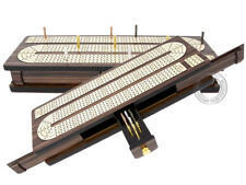 Continuous Cribbage Board Inlaid 4 Tracks Rosewood/Maple with Sliding Lids