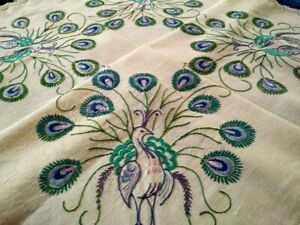 Gorgeous Peacocks & Tail Feathers  Vintage Hand embroidered Tablecloth