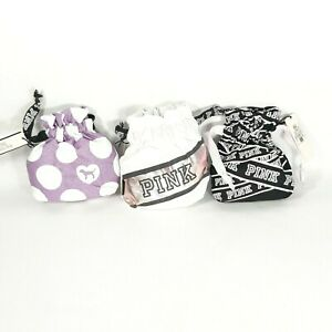 PINK by Victoria Secret Travel Pouch Jewelry Cosmetic Drawstring Bag Lot of 3