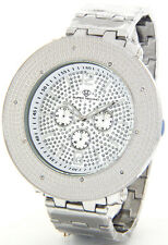 NEW SUPER TECHNO BY JOE RODEO MENS DIAMOND WATCH SILVER TONE CASE METAL BAND