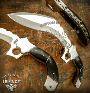 IMPACT CUTLERY RARE CUSTOM D2 FULL TANG KHUKRI KUKRI BOWIE KNIFE