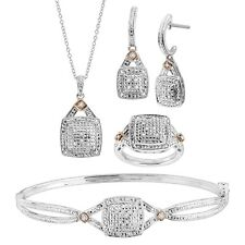 1/5 ct Diamond Pendant, Bangle, Ring, & Earrings Set, Sterling Silver Over Brass