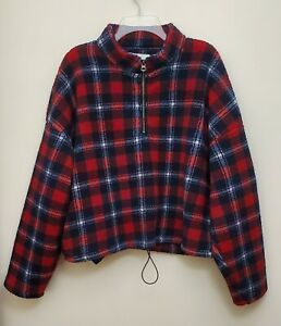 American Eagle Outfitters Red Navy Plaid Cropped 1/2 Zip Fleece Pullover XXL EUC