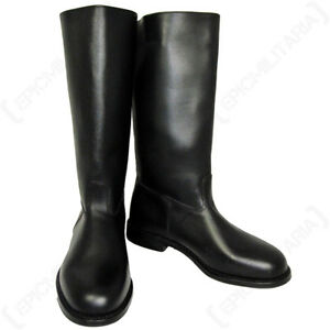 Leather Jack Boots (with heelplate) - WW2 German Army Post War Black All Sizes