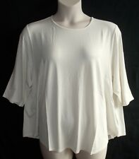 J Jill 4x Cream Wearever Scoop Neck Knit Top Back Pleat 3/4 Sleeves