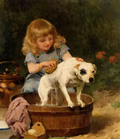 Oil painting Louis Marie de Schryver - bath day young girl with pet dog canvas